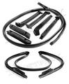 1986-1996 Chevrolet Corvette convertible top side seals, front header bow seal & rear bow seal, 8 pieces.