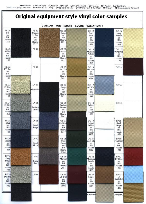 Convertible Top Color Charts Convertible Top Specialists